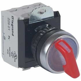Bouton tournant lumineux à manette rouge IP69 Osmoz complet - 24V~ - 2 positions fixes LEGRAND