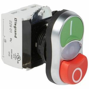Double touche lumineux affleurant et dépassant IP66 Osmoz complet - vert et rouge - 24V~ ou 24V LEGRAND