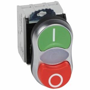 Double touche lumineux affleurant et dépassant IP66 Osmoz complet - vert et rouge - 230V~ LEGRAND