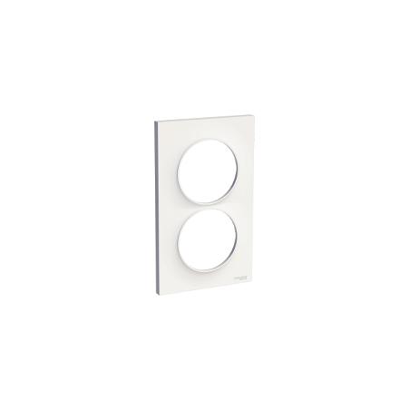 Plaque 2 postes verticaux entraxe 57mm, blanc, Odace Styl SCHNEIDER