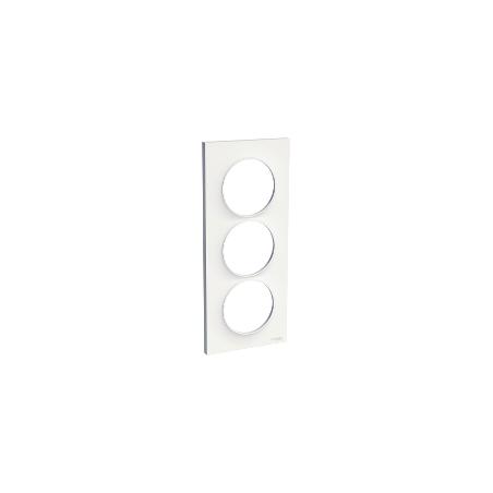 Odace Styl, plaque Blanc 3 postes verticaux entraxe 57mm SCHNEIDER
