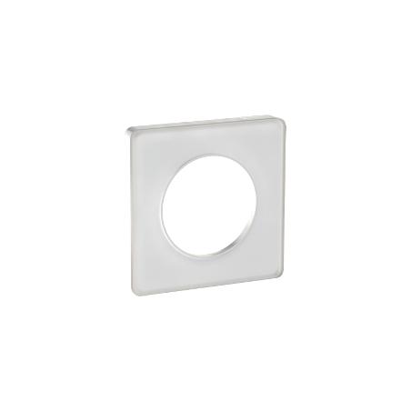 Plaque 1 poste translucide blanc, Odace Touch SCHNEIDER