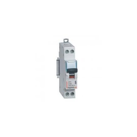 Disjoncteur Phase+Neutre DNX³4500 6kA arrivée et sortie borne à vis - 1P+N 230V~ 40A courbe C - 1 module LEGRAND