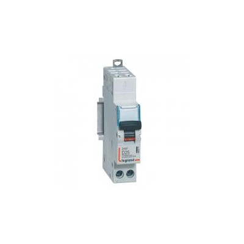 Disjoncteur 25A courbe D - 6kA - 1P+N 230V~ - auto/auto 1 module - DNX³4500 LEGRAND