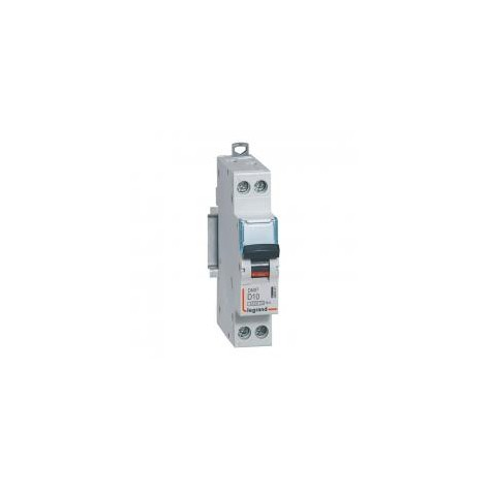 Disjoncteur 10A courbe D - 6kA - 1P+N 230V~ - vis/vis - 1 module - DNX³4500 LEGRAND