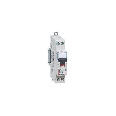 Disjoncteur Phase+Neutre DNX³4500 6kA arrivée et sortie borne à vis - 1P+N 230V~ 20A courbe D - 1 module LEGRAND