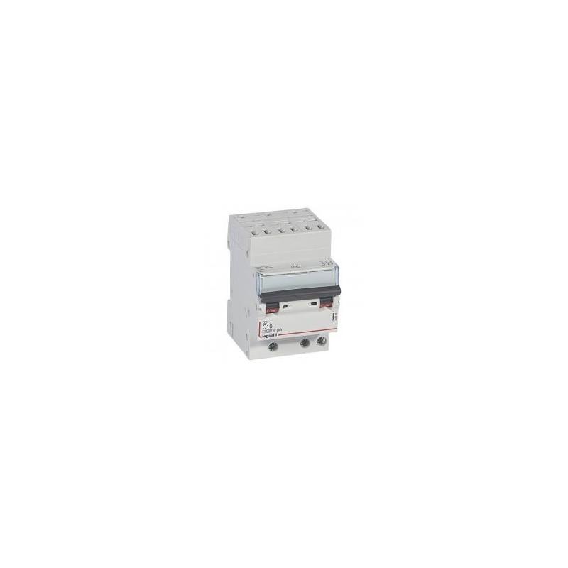 Disjoncteur tripolaire 400V~ 10A courbe C - 1 module - auto/vis - DX³4500 6kA LEGRAND
