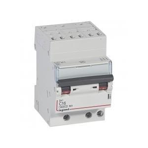 Disjoncteur tripolaire 400V~ 16A courbe C - 1 module - auto/vis - DX³4500 6kA LEGRAND