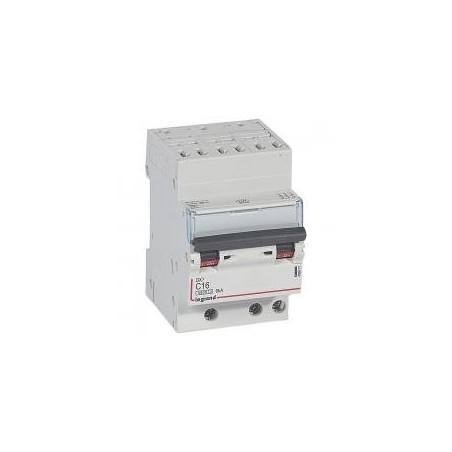 Disjoncteur tripolaire 16A courbe C - 400V~ 3 modules - auto/vis - DX³4500 6kA LEGRAND