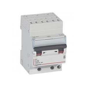 Disjoncteur tripolaire 20A courbe C - 400V~ 3 modules - auto/vis - DX³4500 6kA LEGRAND