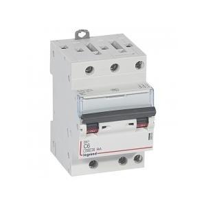 Disjoncteur tripolaire 6A courbe C - 400V~ 1 module - vis/vis - DX³4500 6kA LEGRAND