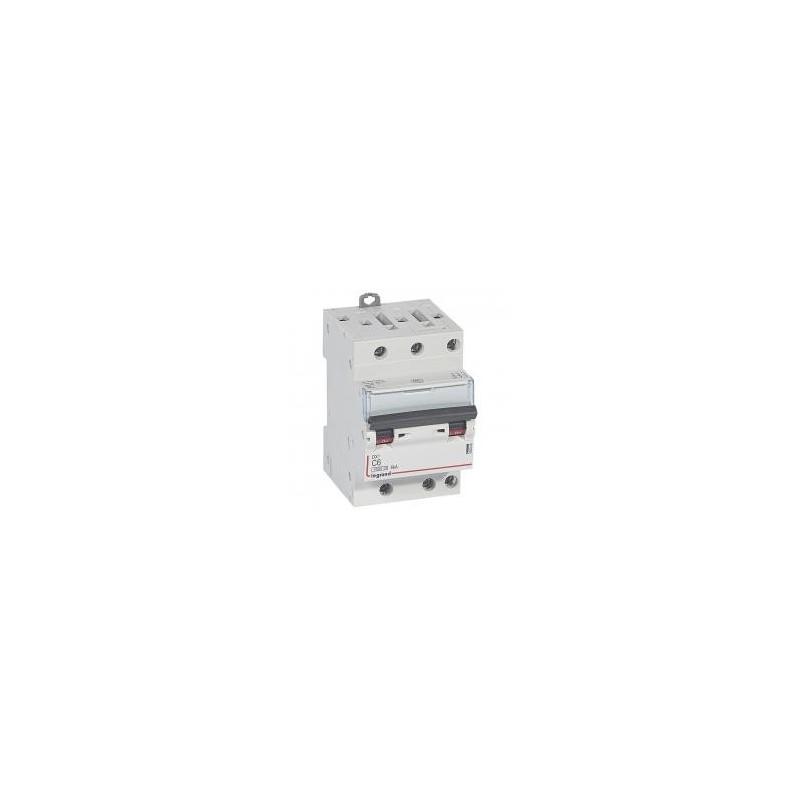 Disjoncteur tripolaire 400V~ 6A courbe C - 1 module - vis/vis - DX³4500 6kA LEGRAND