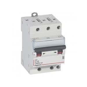Disjoncteur tripolaire 10A courbe C - 400V~ 1 module - vis/vis - DX³4500 6kA LEGRAND