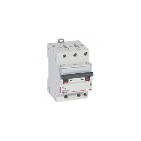 Disjoncteur tripolaire 400V~ 10A courbe C - 1 module - vis/vis - DX³4500 6kA LEGRAND