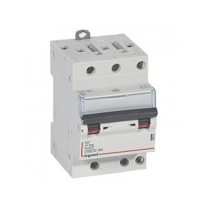 Disjoncteur tripolaire 400V~ 25A courbe C - 1 module - vis/vis - DX³4500 6kA LEGRAND