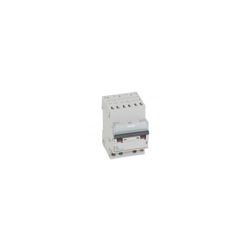 Disjoncteur tétrapolaire 6A courbe C - 400V~ 3 modules - auto/vis DX³4500 6kA LEGRAND