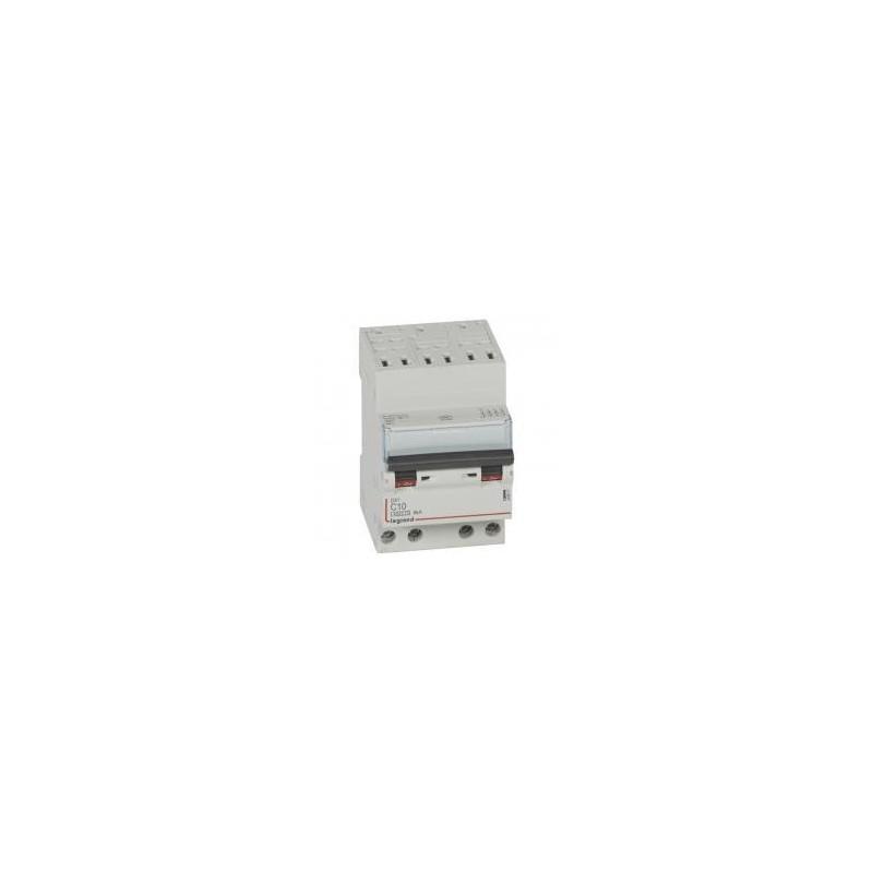 Disjoncteur tétrapolaire 10A courbe C - 400V~ 3 modules - auto/vis - DX³4500 6kA LEGRAND