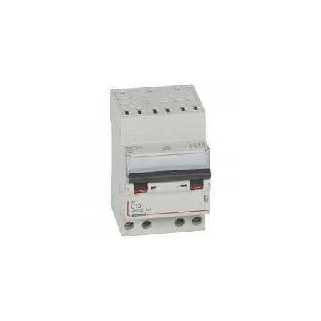 Disjoncteur tétrapolaire 400V~ 10A courbe C - 3 modules - auto/vis - DX³4500 6kA LEGRAND