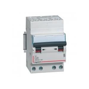 Disjoncteur tétrapolaire 20A courbe C - 400V~ 3 modules - auto/vis - DX³4500 6kA LEGRAND
