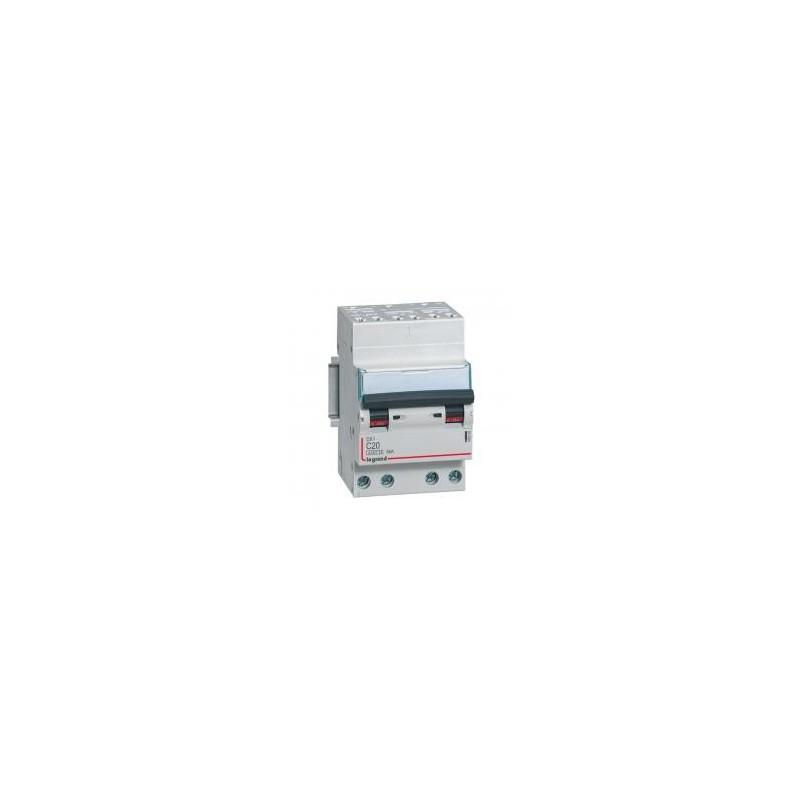 Disjoncteur tétrapolaire 400V~ 20A courbe C - 3 modules - auto/vis - DX³4500 6kA LEGRAND