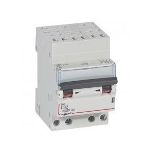 Disjoncteur DNX³4500 6kA arrivée borne automatique sortie borne à vis - tétrapolaire 400V~ 32A courbe C - 3 modules LEGRAND