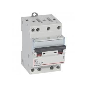Disjoncteur DNX³4500 6kA arrivée et sortie borne à vis - tétrapolaire 400V~ 6A courbe C - 3 modules LEGRAND
