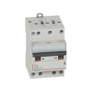 Disjoncteur tétrapolaire 400V~ 10A courbe C - 3 modules - vis/vis - DX³4500 6kA LEGRAND