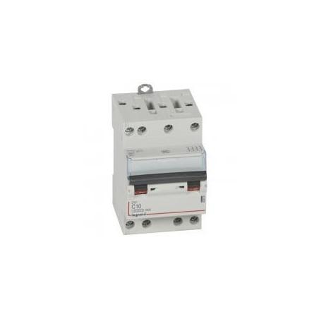 Disjoncteur tétrapolaire 10A courbe C - 400V~ 3 modules - vis/vis - DX³4500 6kA LEGRAND
