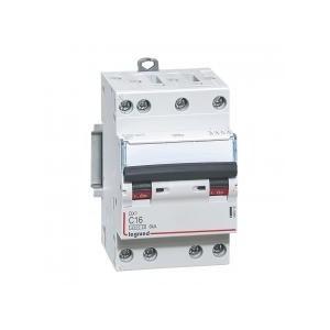 Disjoncteur DNX³4500 6kA arrivée et sortie borne à vis - tétrapolaire 400V~ 16A courbe C - 3 modules LEGRAND