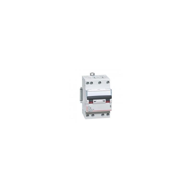 Disjoncteur tétrapolaire 16A courbe C - 400V~ 3 modules - vis/vis - DX³4500 6kA LEGRAND