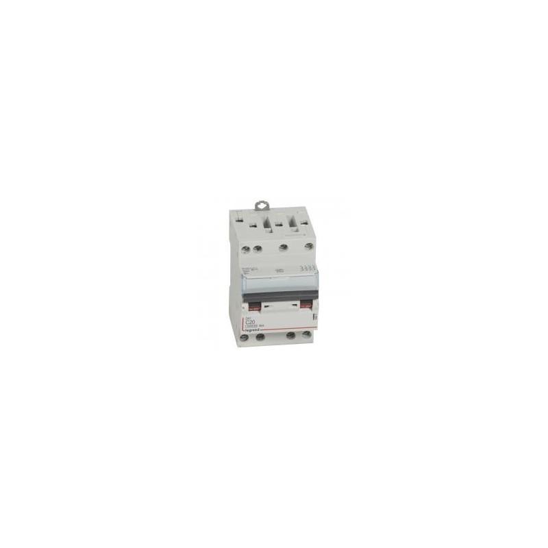 Disjoncteur tétrapolaire 400V~ 20A courbe C - 3 modules - vis/vis - DX³4500 6kA LEGRAND