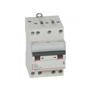 Disjoncteur DNX³4500 6kA arrivée et sortie borne à vis - tétrapolaire 400V~ 25A courbe C - 3 modules LEGRAND