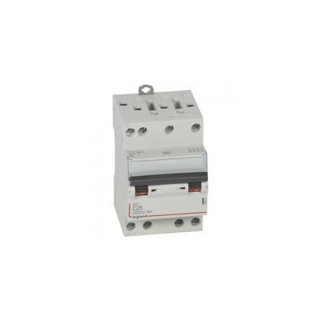 Disjoncteur tétrapolaire 25A courbe C - 400V~ 3 modules - vis/vis - DX³4500 6kA LEGRAND