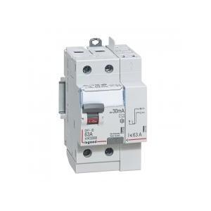 Interrupteur différentiel DX³-ID arrivée haut vis et départ haut automatique - 2P 230V~ 63A typeAC 30mA - 2 modules LEGRAND