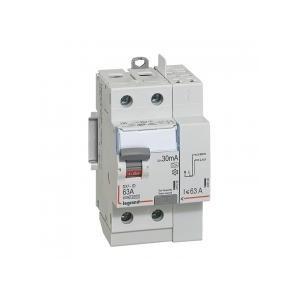 Interrupteur différentiel DX³-ID arrivée haut à vis et départ haut automatique - 2P 230V~ 63A typeA 30mA - 3 modules LEGRAND