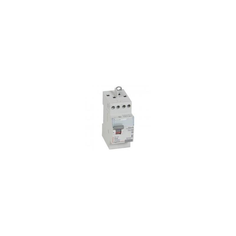 Interrupteur différentiel DX³-ID arrivée haute et départ haut à vis - 2P 230V~ 40A typeF 30mA - 2 modules LEGRAND