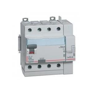 Interrupteur différentiel DX³-ID vis/auto - 4P 400V~ 63A type AC 30mA - 5 modules LEGRAND