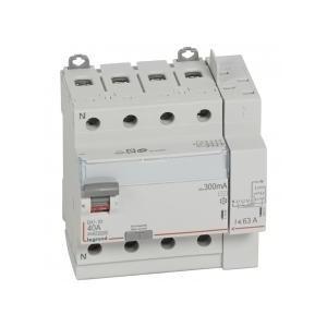 Interrupteur différentiel DX³-ID arrivée haut à vis et départ haut automatique - 4P 400V~ 40A typeAC 300mA - 5 modules LEGRAND