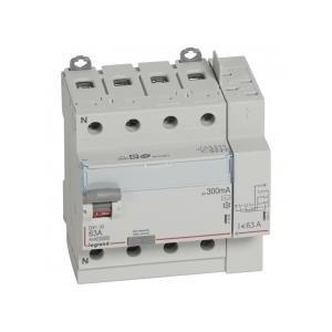 Interrupteur différentiel DX³-ID arrivée haut à vis et départ haut automatique - 4P 400V~ 63A typeAC 300mA - 5 modules LEGRAND