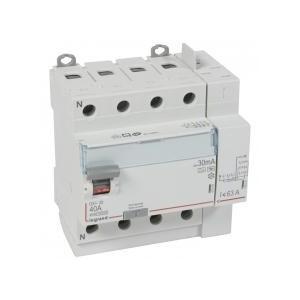 Interrupteur différentiel DX³-ID arrivée haut à vis et départ haut automatique - 4P 400V~ 40A typeF 30mA - 5 modules LEGRAND