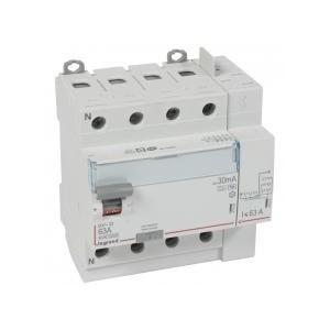 Interrupteur différentiel DX³-ID arrivée haut à vis et départ haut automatique - 4P 400V~ 63A typeF 30mA - 5 modules LEGRAND