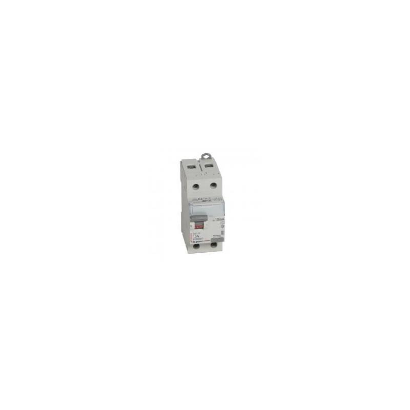 Interrupteur différentiel DX³-ID arrivée haute et départ bas à vis - 2P 230V~ 16A typeAC 10mA - 2 modules LEGRAND