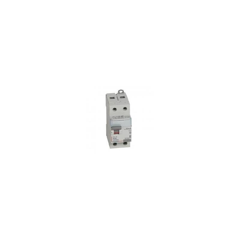 Interrupteur différentiel DX³-ID arrivée haute et départ bas à vis - 2P 230V~ 40A typeAC 30mA - 2 modules LEGRAND