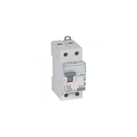 Interrupteur différentiel DX³-ID arrivée haute et départ bas à vis - 2P 230V~ 100A typeAC 30mA - 2 modules LEGRAND