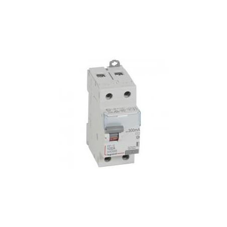 Interrupteur différentiel DX³-ID arrivée haute et départ bas à vis - 2P 230V~ 100A typeAC 300mA - 2 modules LEGRAND