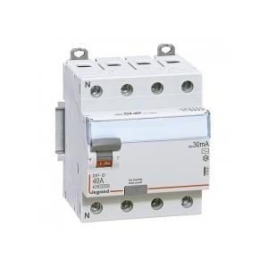 Interrupteur différentiel DX³-ID arrivée haute et départ bas à vis - 4P 400V~ 25A typeAC 30mA - 4 modules LEGRAND