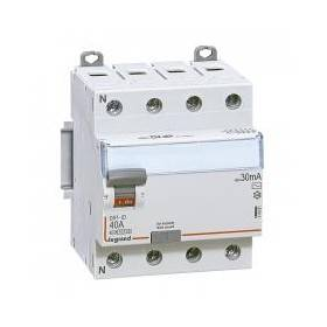 Interrupteur différentiel DX³-ID arrivée haute et départ bas à vis - 4P 400V~ 40A typeAC 30mA - 4 modules LEGRAND