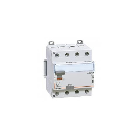Interrupteur différentiel DX³-ID vis/vis - 4P 400V~ 40A type AC 30mA - 4 modules LEGRAND