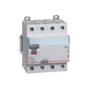 Interrupteur différentiel DX³-ID arrivée haute et départ bas à vis - 4P 400V~ 63A typeAC 30mA - 4 modules LEGRAND