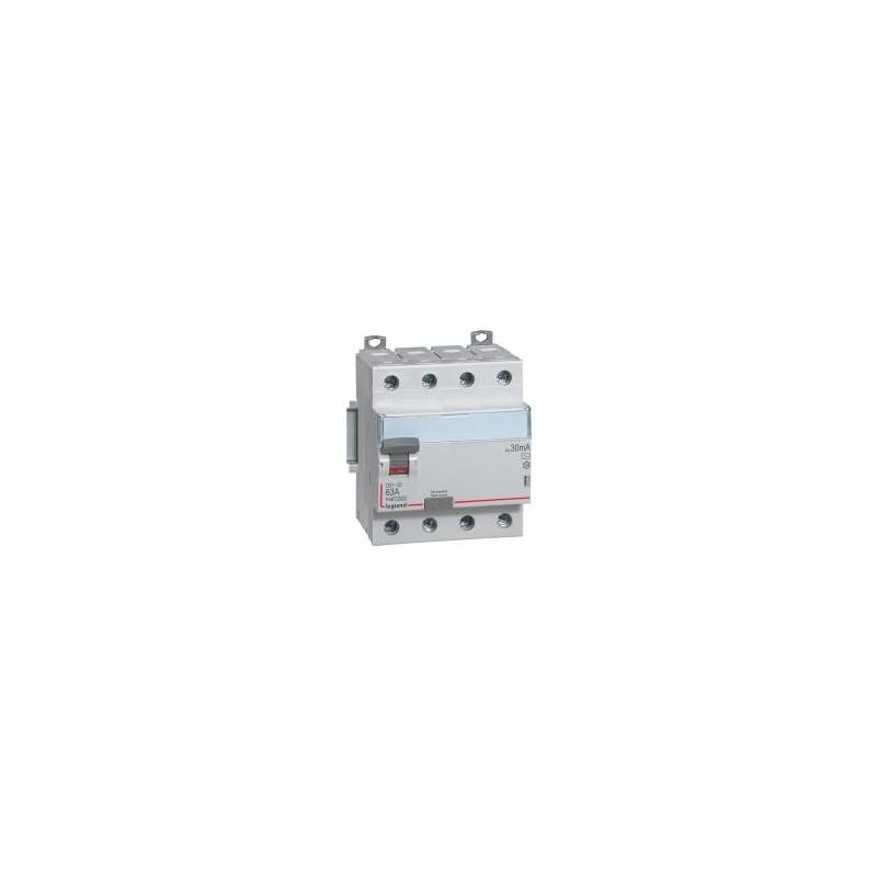 Interrupteur différentiel DX³-ID vis/vis - 4P 400V~ 63A type AC 30mA - 4 modules LEGRAND